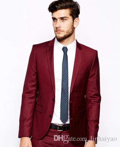2018 Popular Burgundy Groomsmen Wedding Tuxedos Men's Party /Prom Suits Daily Work Wear Blazer For Young Men (Jacket+Pants+Tie)
