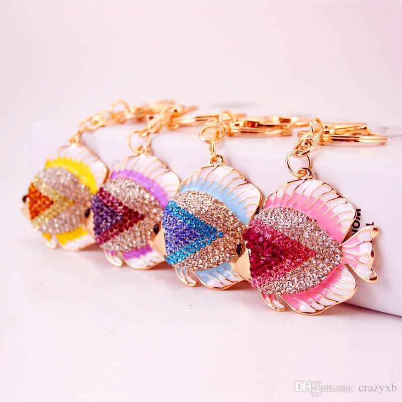 Colorful Crystal Tail Fish Goldfish Keychains HandBag llaveros Keyrings Key Chains Purse Bag Pendant For Car Women
