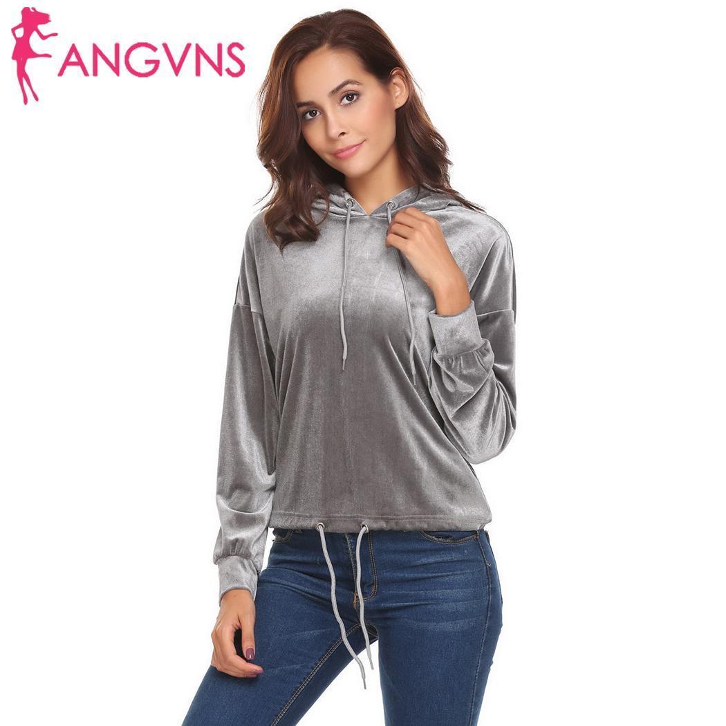 ANGVNS 2018 осень женщины с капюшоном повседневная с длинным рукавом пуловер с капюшоном Drawstring Hem бархат твердые толстовка женская одежда S18101006