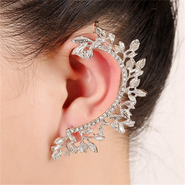 2017 Women Fashion Statement Punk Jewelry Gold coated Full Rhinestone Crystal Vintage Leaf Ear Cuff Clip Earrings Brincos 1 pc