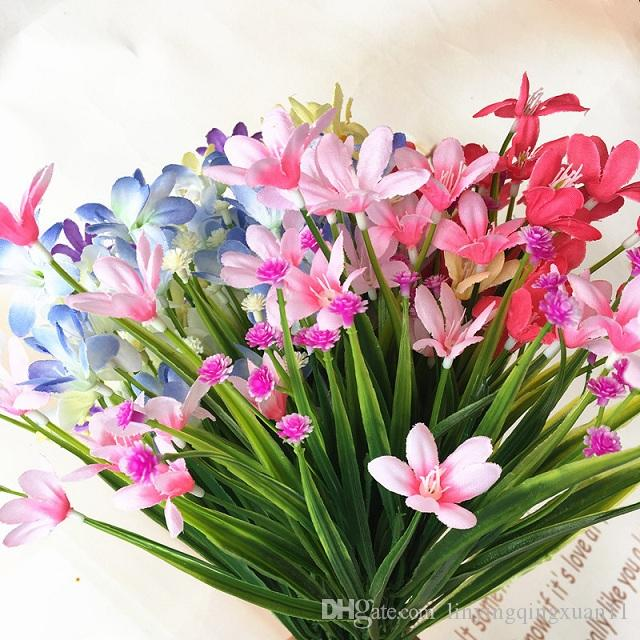 7 heads artificial flowers grass orchid plant small plastic fork trade beam placed flowers Home Furnishing outdoor decoration