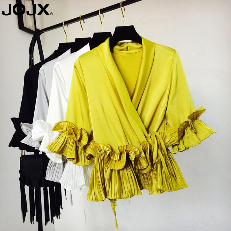 JOJX Solid Ruffles Patchwork Mujer womens tops and Blouse 2018 New V-Neck Chiffon Sashes Shirts Female Women clothing