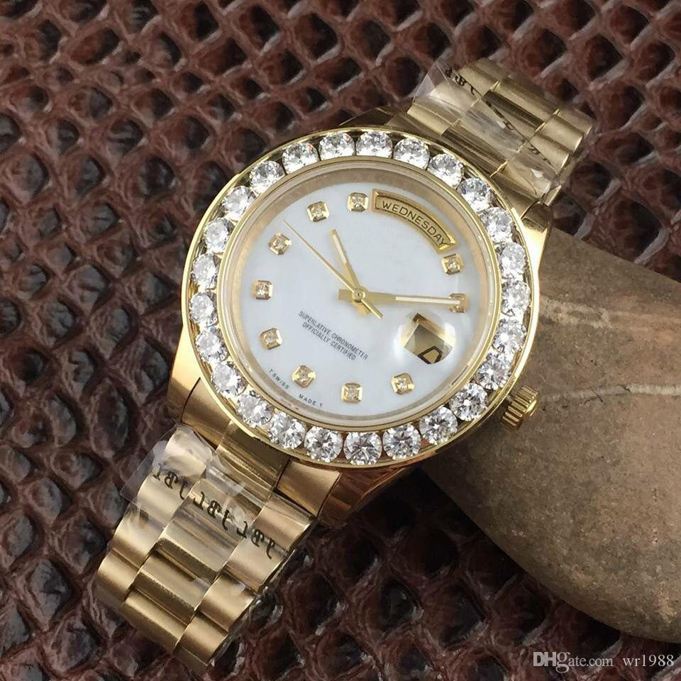 다이아몬드 시계 A2813 mens 럭셔리 President Day-Date 시계 남성 자동 사파이어 Original 기계식 손목 시계