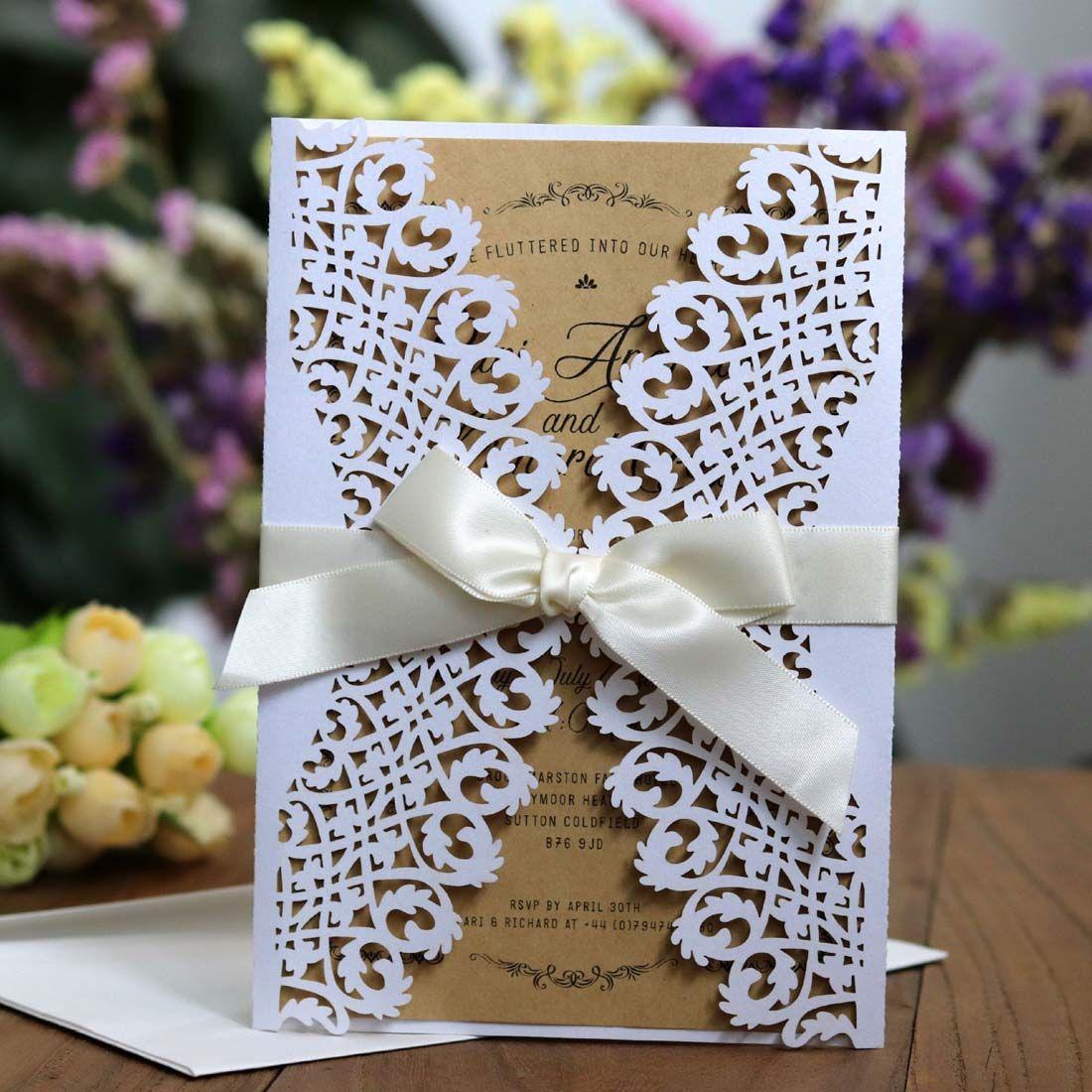 100 sztuk Vintage White Wedding Zaproszenia Karty z Flora Laser Cut Engagement na przyjęcie urodzinowe Zaproszenie konfigurowalne