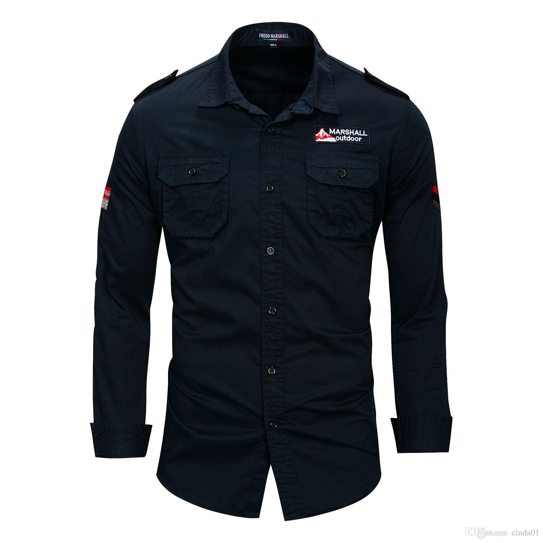 Mens piloto camisas manga longa casual curva colarinho ma1 tops moda camisa roupas
