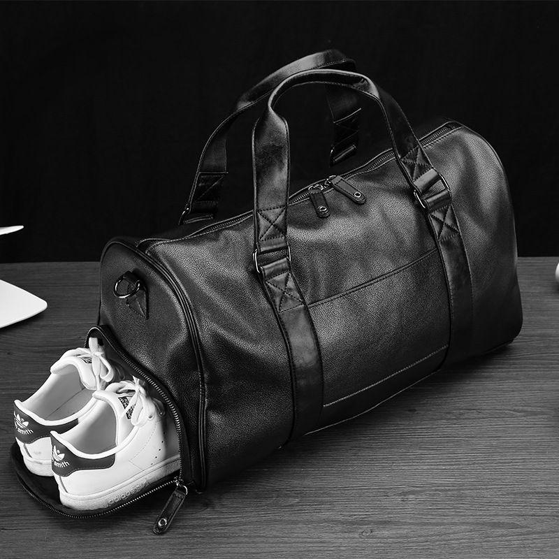 Fashion Leather Men's Travel Luggage & Travel Bag Men Carry On Leather Duffel Bag Weekend Bag Big Tote Handbag black