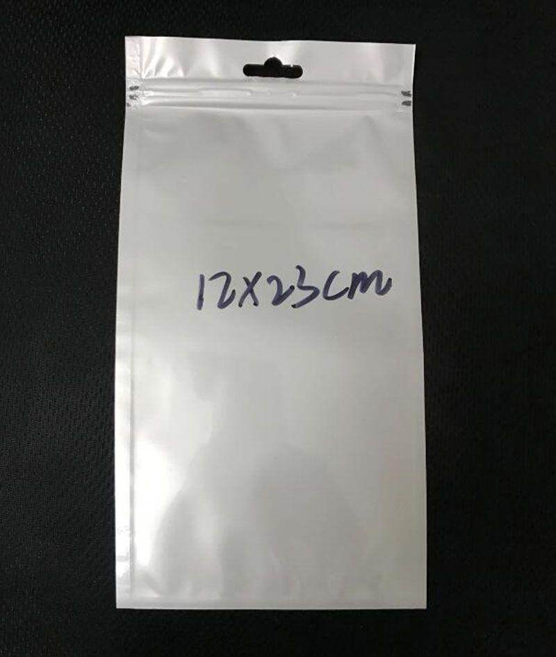 500шт 12*23 см белый/очистить уплотнения собственной личности молния влагостойкий пакет Поли мешок упаковка сумка с отверстием подвесить для чехол
