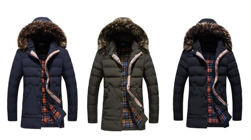 winter jacket Men Solid Long Down cotton Jacket Fashion Wadded Thicken Design warm fur Hooded coat Parkas