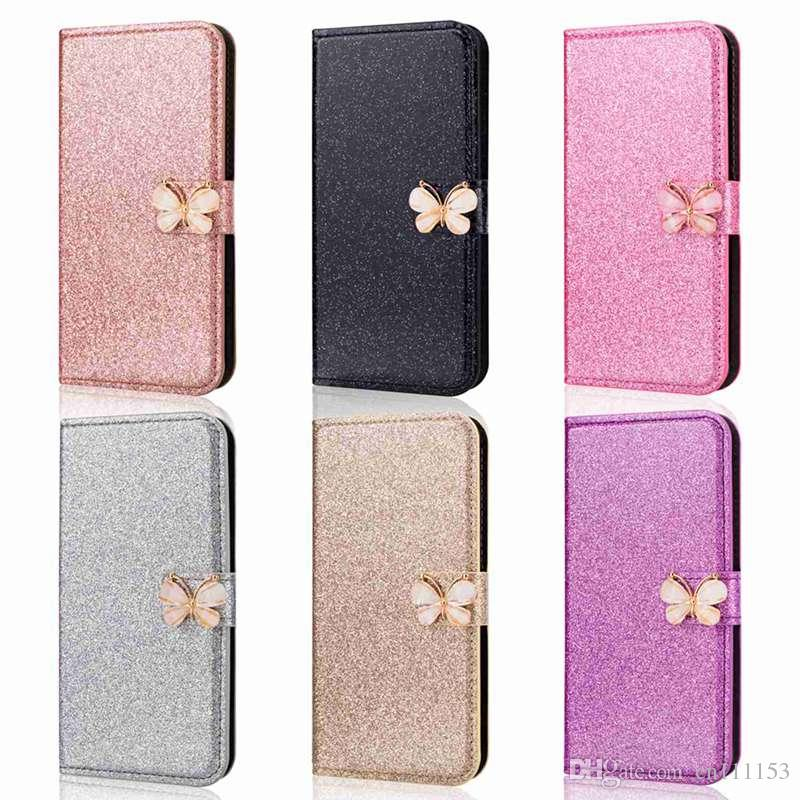 For Samsung Galaxy A8 PLUS A8(2018) A3(2017) A5(2017) A3(2016) A5(2016) Glitter Shine and Butterfly Card Holder Wallet Case