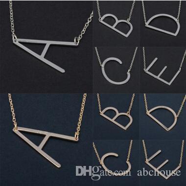 26 Alphabet Englisch Brief Anhänger Dame Metall Halskette A-Z Choker Kette Halsketten Splitter Gold Schmuck Geschenk