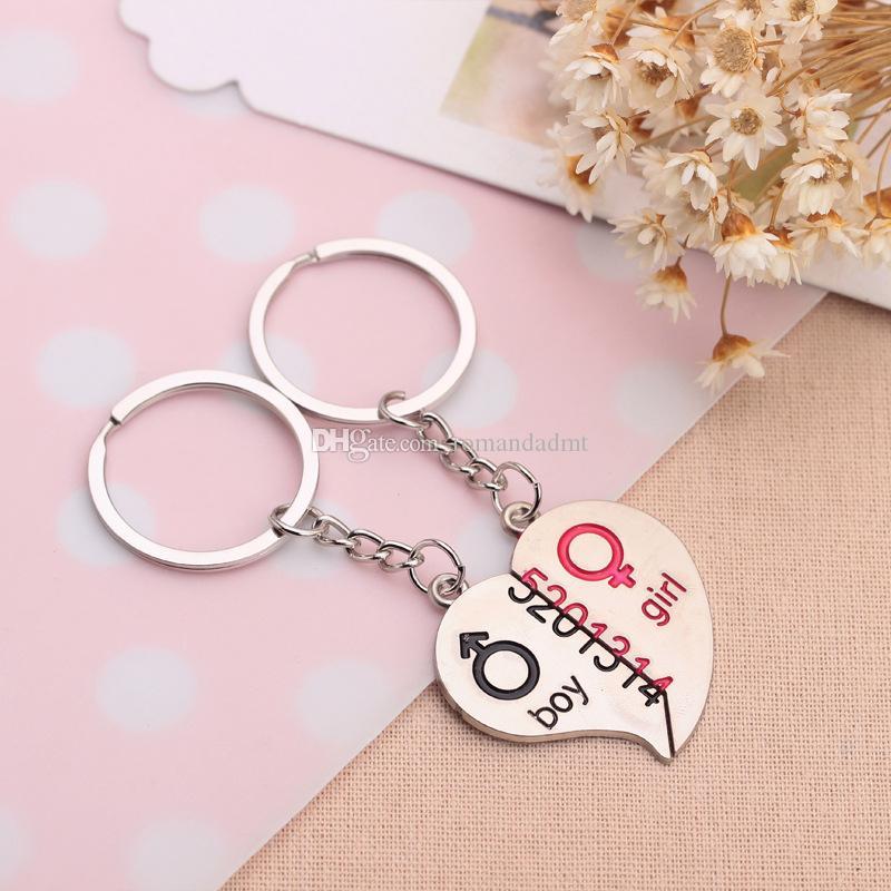 Pareja 5201314 Día llavero del corazón de los amantes del metal llavero de San Valentín regalo de boda Favores Llaveros con tarjeta + envío libre de DHL