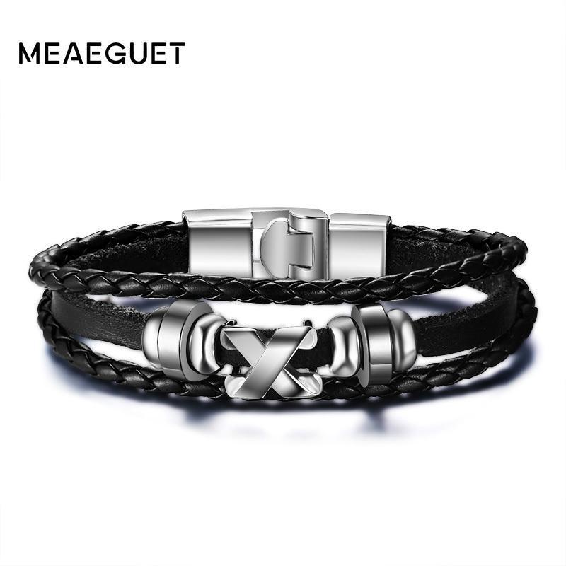 Jewl:lb1 Quality Leather Bracelet Steel Clasp Man Woman Custom X Bracelet