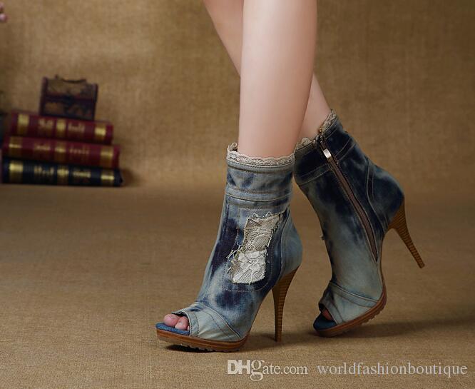 Mujer Damas Tacón Alto Botas al Tobillo Cuña Cremallera Peep Toe Plataforma Botines Talla