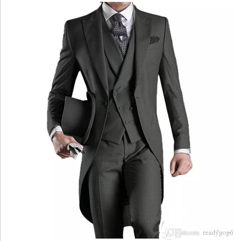 새로운 디자인 맞춤형 잘 생긴 공식적인 테일 코트 신랑 턱시도 첨단 옷깃 사업 착용 Groomsman 정장 (자켓 + 바지 + 조끼)