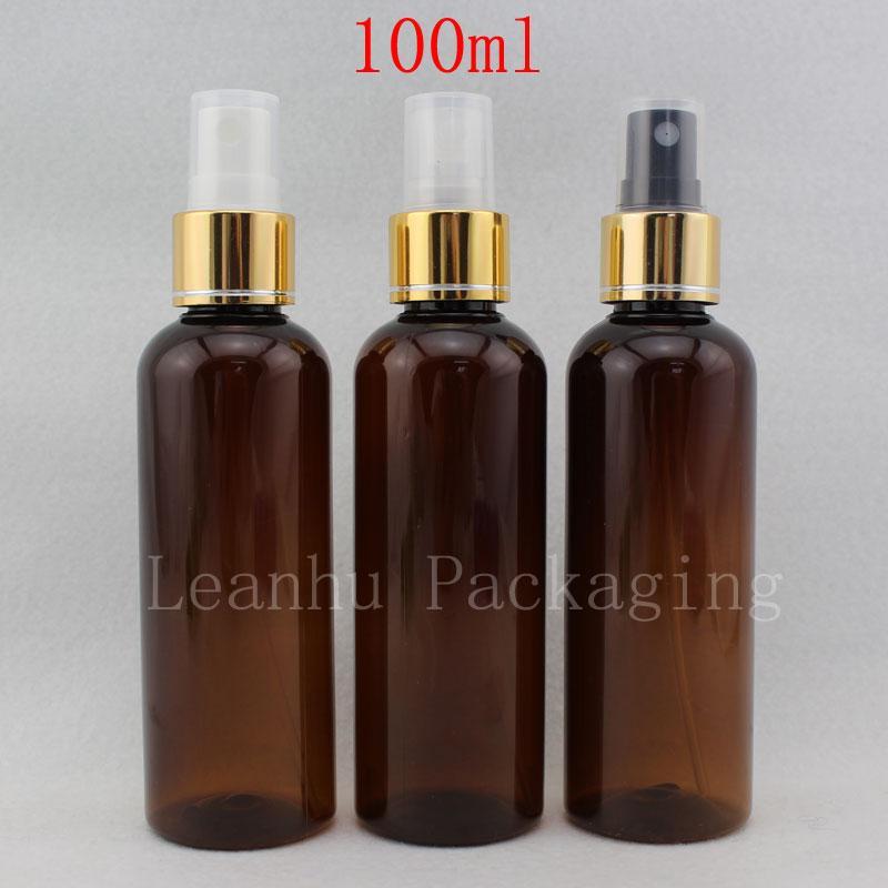 Tuvalet su altın yaka 100 g parfümler ve püskürtme pompası kap şişe 100 mi x 50 yuvarlak boş kahverengi kozmetik sprey şişesi