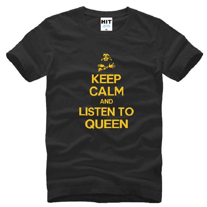 Новый дизайнер сохранять спокойствие и слушать QUEEN Band Майка мужчины хлопок с коротким рукавом печатных мужская футболка мода мужской рок поп топы