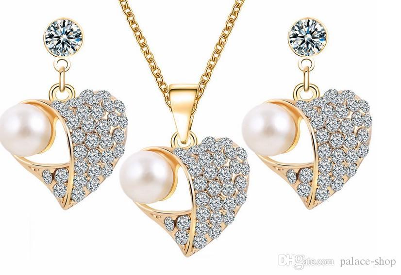 haute qualité à faible prix merveilleux collier de perle ensemble de mariage de cristal de diamant boucles d'oreilles (3,95) GHG