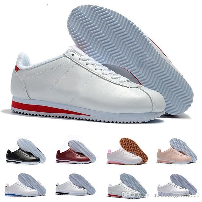 Compre Nike Classic Cortez Nwe Classic Chaussures Cortez Básico Zapatos  Ocasionales De Cuero Baratos Moda Hombres Mujeres Negro Blanco Rojo Dorado  ...