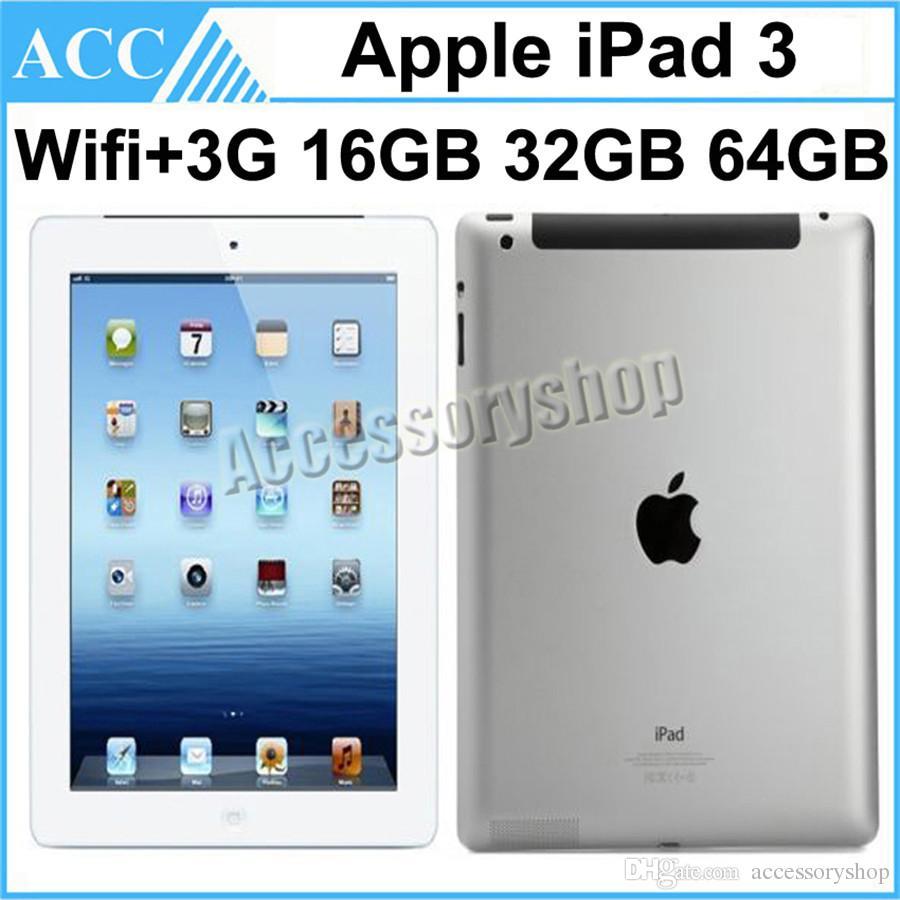 Refurbished Original Apple iPad 3 WIFI + 3G Cellular 16GB 32GB 64GB 9.7 inch IOS Dual Core 1.0 GHz A5X Chipset Tablet PC DHL 1pcs