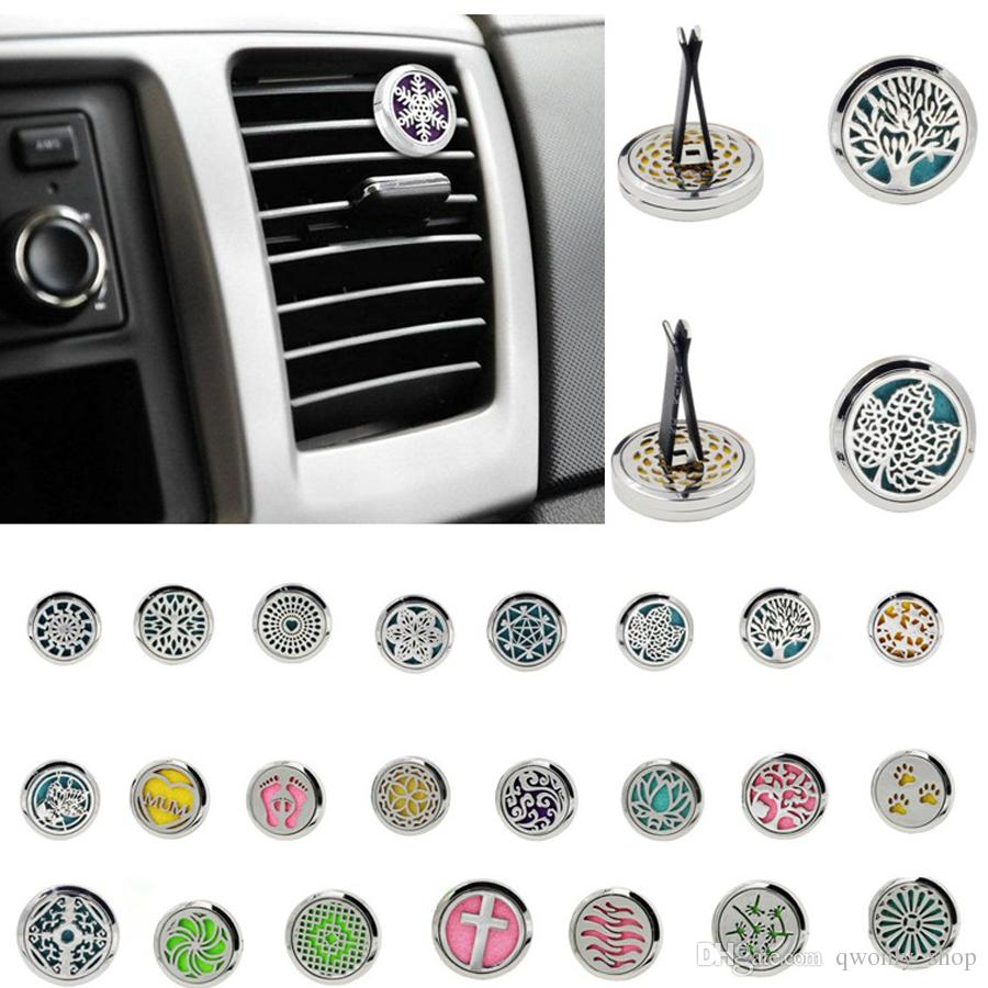 Car Perfume Clip Home Essential Oil Diffuser For Car Locket Clip 30mm Stainless Steel Car Air Freshener Conditioning Vent Clip 23styles
