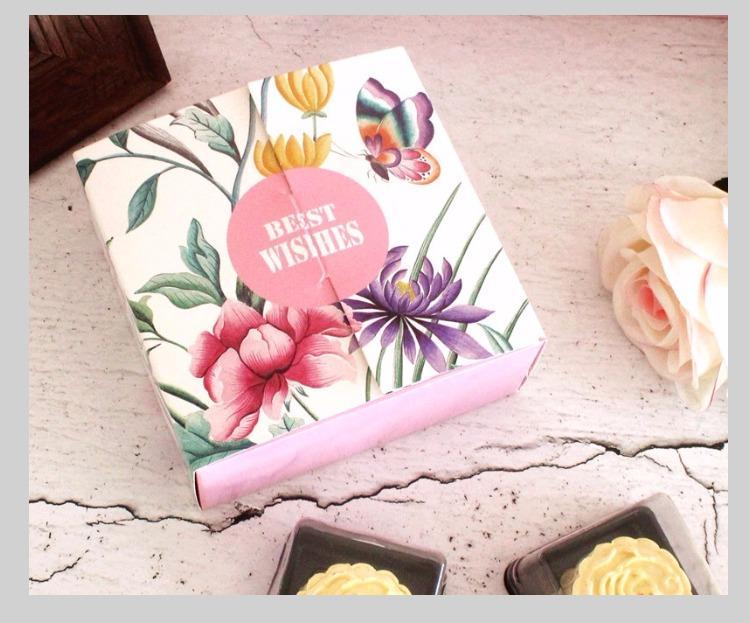 20pcs 중반 가을 축제 광장 꽃 쿠키 선물 상자 mooncake 상자 녹색 콩 과자 케이크 상자