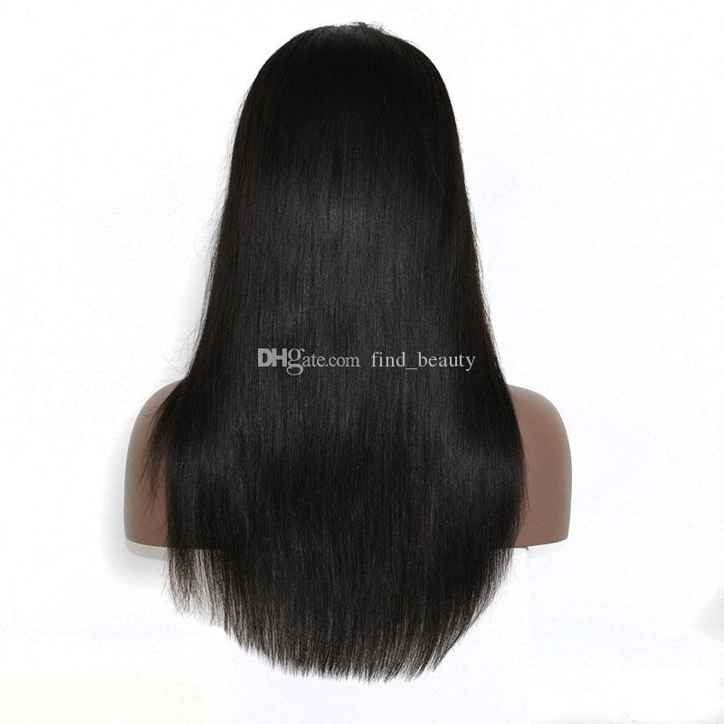 beautiful hair 150% density human hair top quality full lace wig , 16 inch lace front wig silk straight wig for women