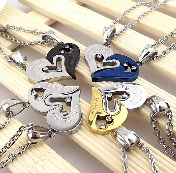I love you male and female couples crystal diamond stainless steel two in one heart-shaped necklace pendant jewelry set