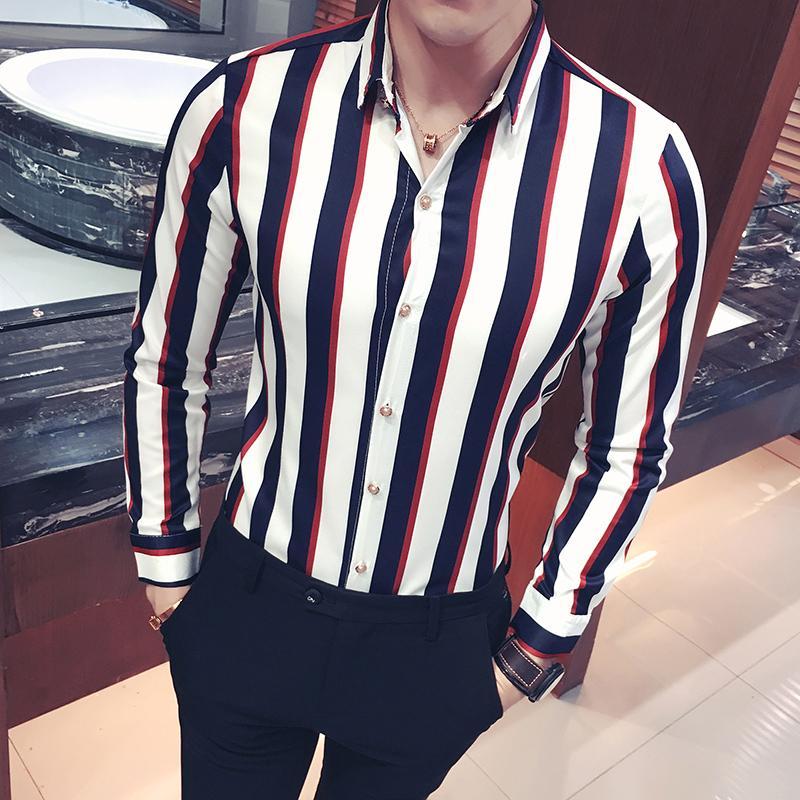 2018 Primavera y otoño de los hombres de la boutique de algodón de moda a rayas de manga larga informal camisas de los hombres cómodos de ocio delgado camisas