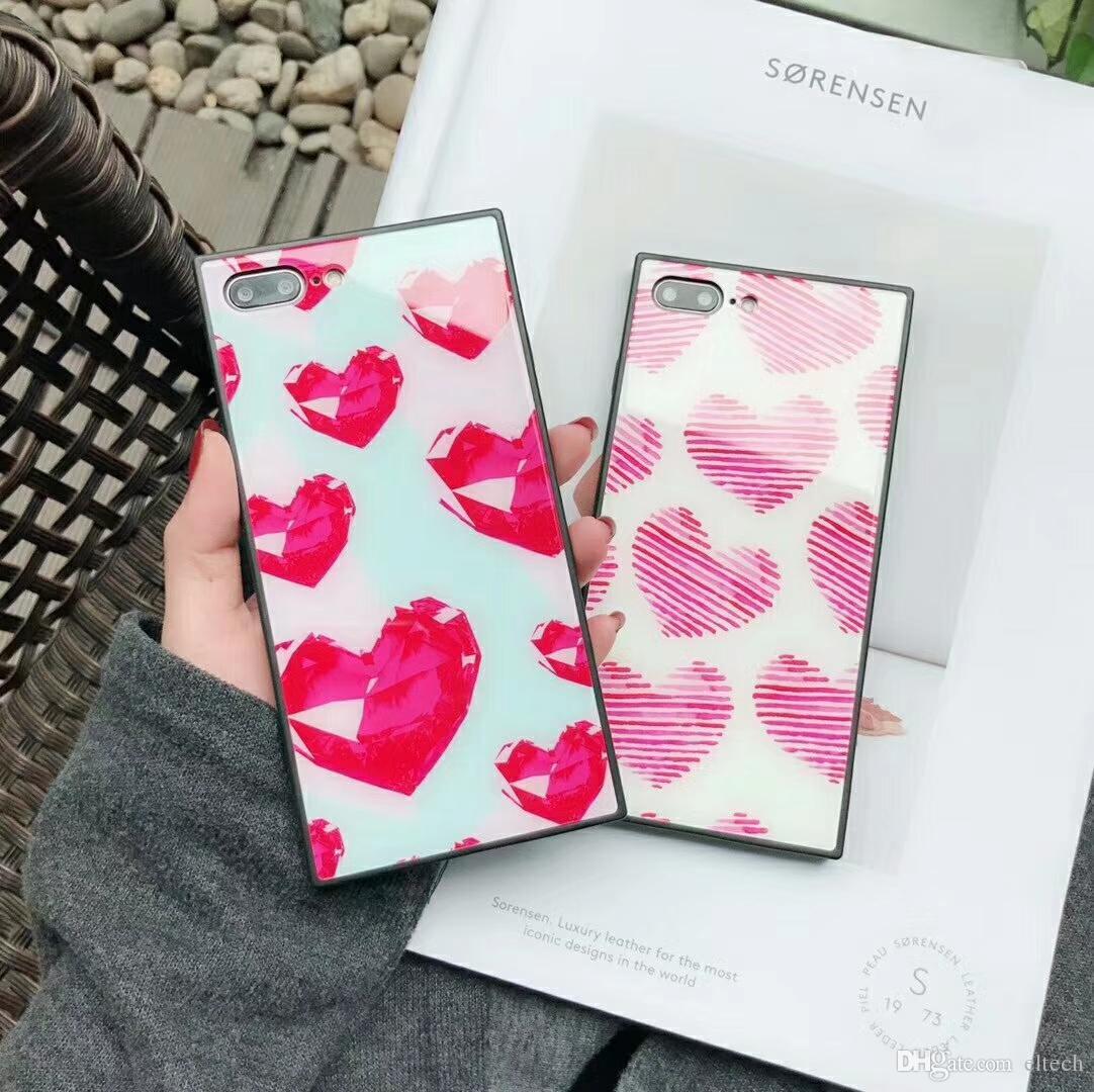 Cassa del telefono di caso della luce per l'iphone X per l'iphone 6 6S 7 8 più copertura di modo custodie colorate geometria del modello Capa