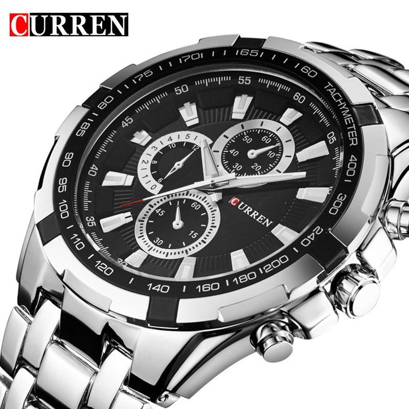 CURREN Men Luxury Top Brand Military Men Steel Watches Wrist Full Military Wristwatches Sports Watch Relogio Stainless Watches 8023 Tkhis