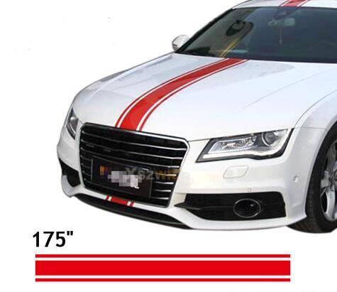 """(450 * 15 cm / Rulo) 175 """"Araba Styling Hood Çatı Kuyruk Çıkartması Araba vinil Çıkartmaları Çıkartmalar Tüm Arabalar Için Yarış Stripes Çıkartmalar"""