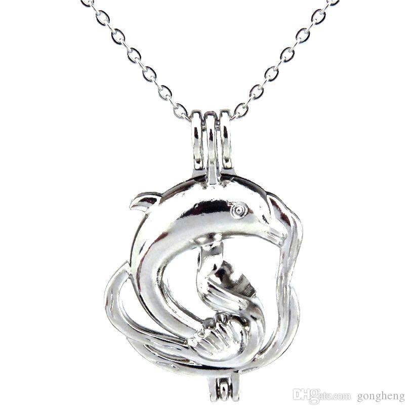 Серебряный океан животных большой дельфин полые масло диффузор медальон женщины ароматерапия бусины Жемчужина устрица Кейдж ожерелье кулон-бутик подарок