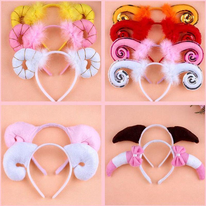 Feather Sheep Goat Horn Headband Kids Children Performance Hairband Headwear Party Favor Hair Accessories