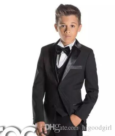 Black Kid's Formal Wedding Groom Tuxedos Flower Boys Children Party Suits Two Pieces(Jacket + Pants + Bowtie)