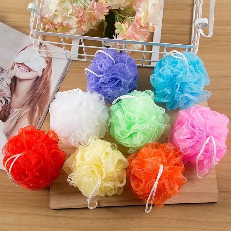 Multi couleurs 8g / 15g / 20g / 30g éponge de douche de bain poubelle Loofahs Nylon brosse pinceau de douche, maille éponge de bain et douche ELBA006