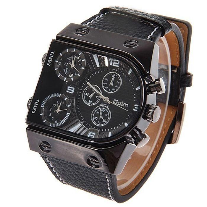 Fashion Brand OULM Men orologio da polso sportivo militare di lusso Tre orologi al quarzo Cinturino in acciaio al quarzo per uomo