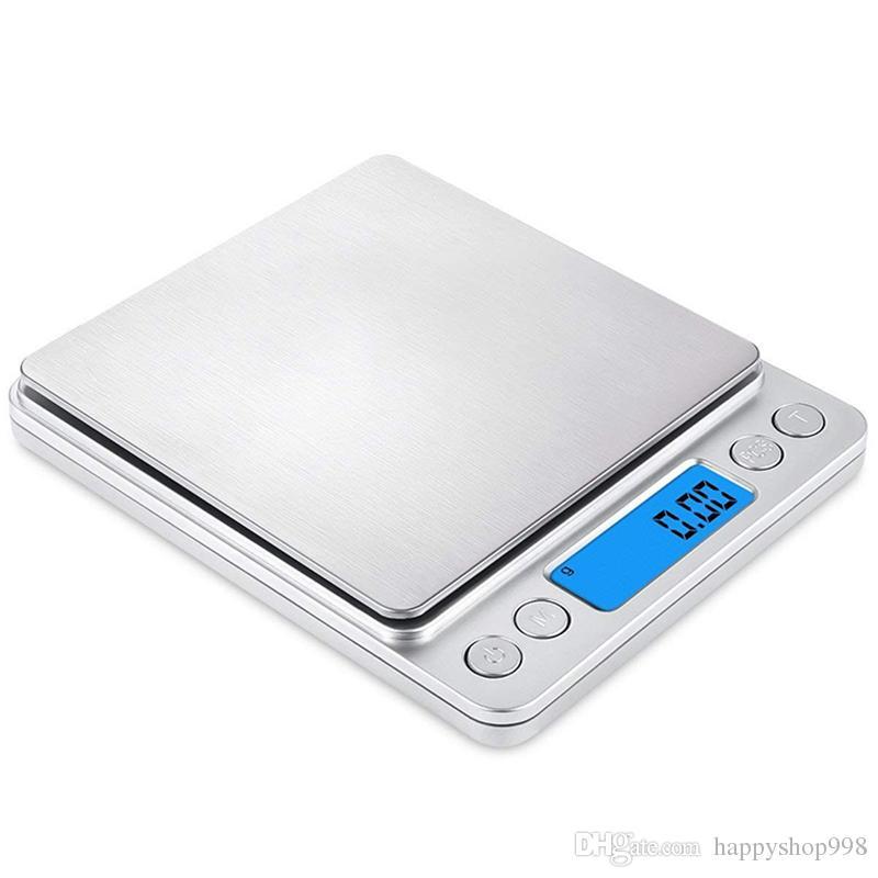 Escala de alimentos digital de cocina de mayor venta Tamaño de bolsillo de 500 x 0.01 g con unidades de pesaje de interruptor de tara PCS Plataforma multifunción de acero inoxidable
