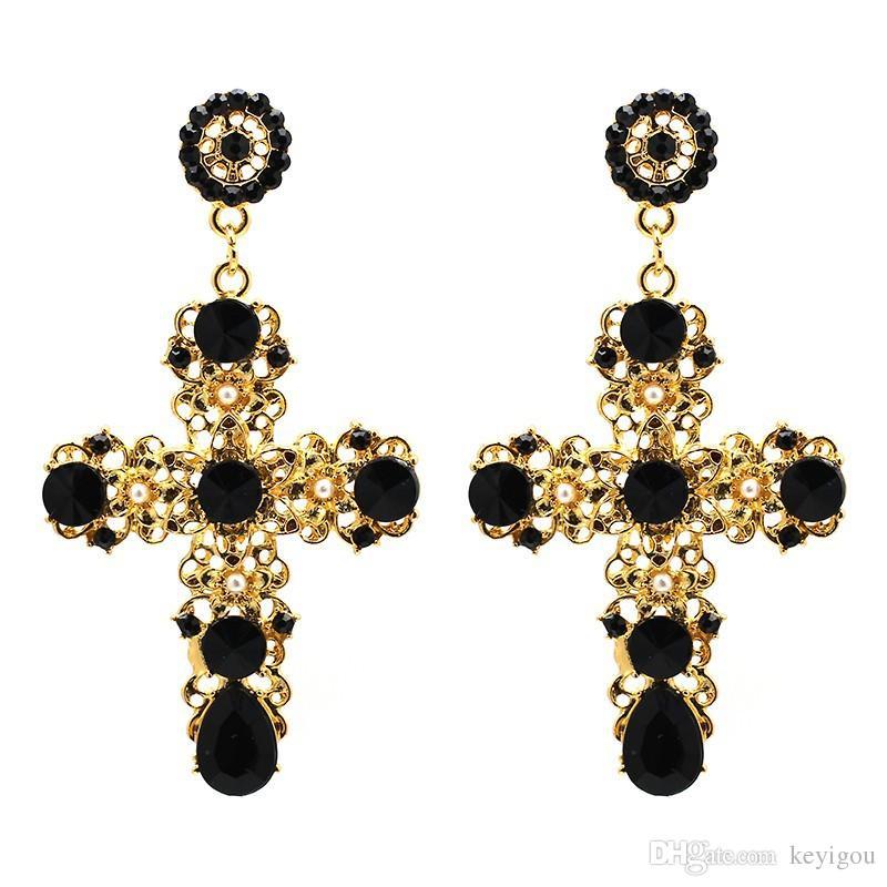 2019 nouvelle arrivée vintage cristal noir croix boucles d'oreilles pour les femmes rose baroque bohème grandes longues boucles d'oreilles bijoux