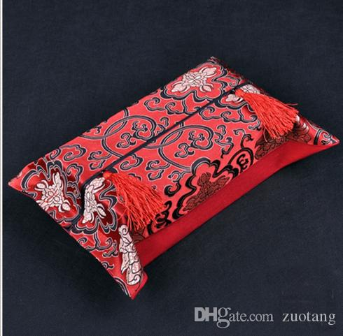 中国の花の生地のティッシュボックスカバー高品質シルクブロコードフェイシャルナプキンケース家の装飾kleenex箱カバー10pcs /ロットミックスカラー