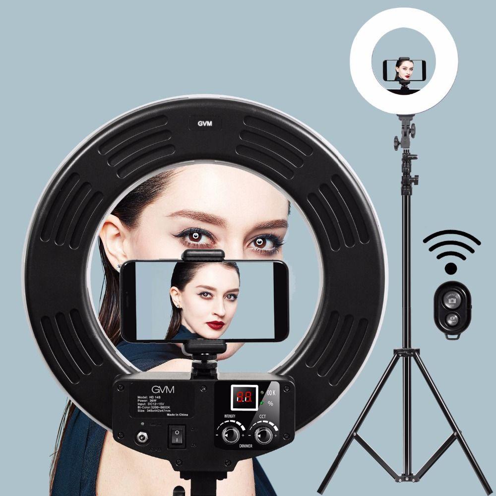 GVM Dimmable Diva Светодиодное кольцо для освещения фотографии Комплект освещения 256 светодиодных кольцевых ламп для макияжа Фотографии камеры смартфона