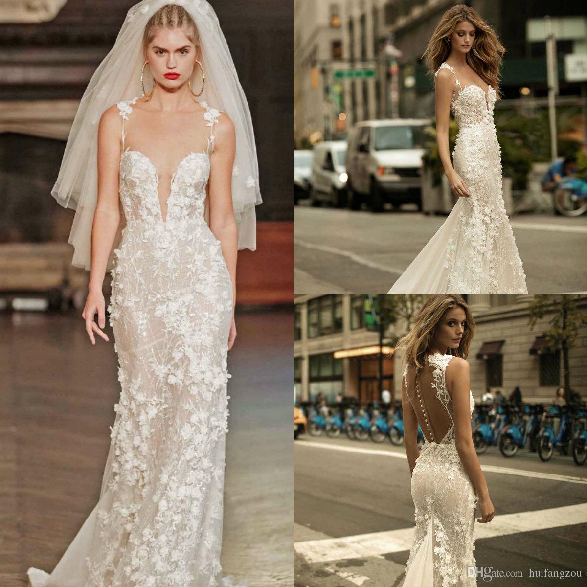 Berta 2018 Spaghetti Wedding Dresses Sexy Deep V Neck Full 3D Floral Applique Sweep Train Bridal Gowns Custom Made Wedding Dress