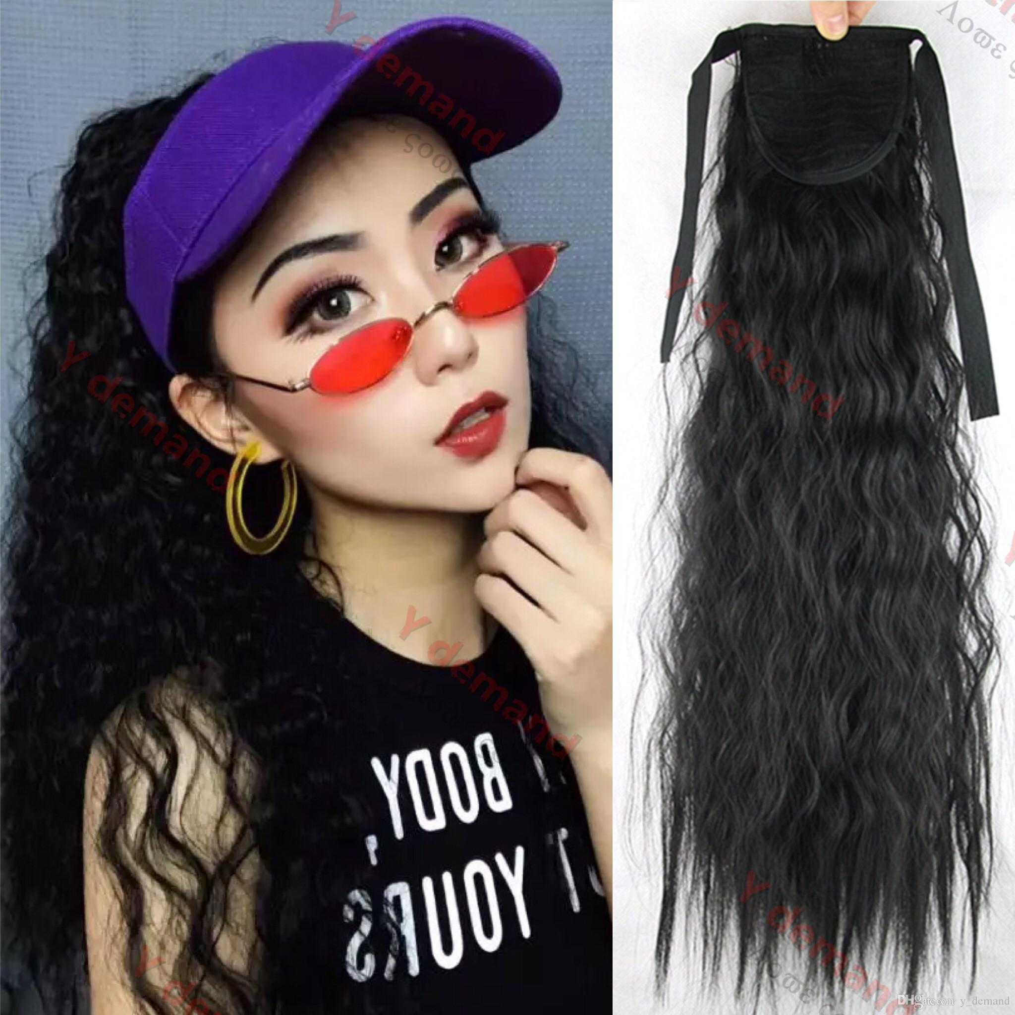 Y demand 22 inch Long Synthetic Ribbon Ponytail Clip Heat Resistant Kinky Drawstring Ponytails Clip in Hair Extensions