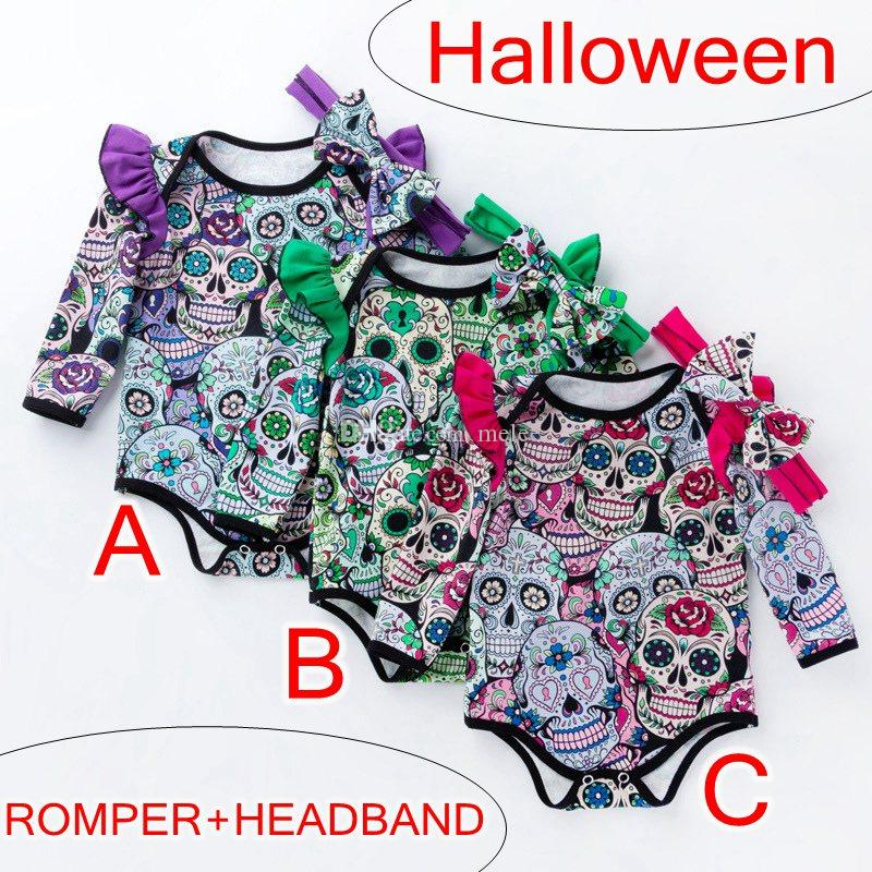 할로윈 Baby Girls Boys 스컬 프린트 Rompers Headband 2 PCS / 유아용 긴 소매 점프 슈트 헤어 밴드 부티크 Kids Clothes 0-2T
