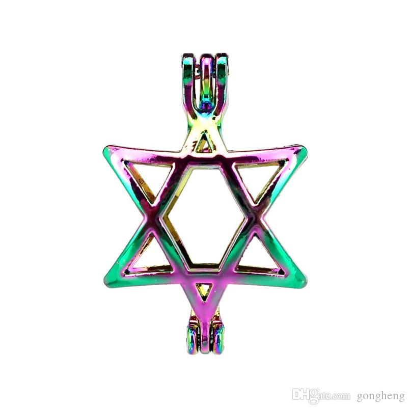10pcs/lot Rainbow Color Star Pearl Cage Beads Cage Locket Pendant Diffuser Aromatherapy Perfume Essential Oils Diffuser Floating Pom
