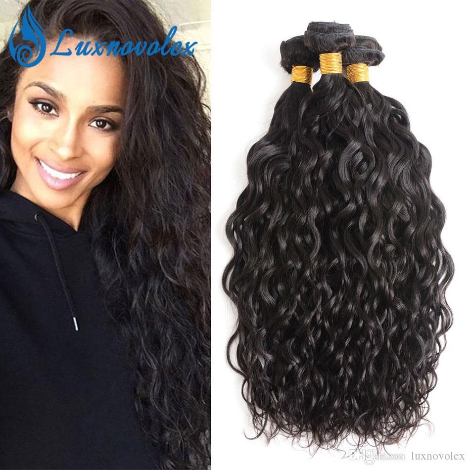 Cabelo Humano Cabelo Virgem brasileira Water Wave 3 Pacotes não processado brasileiro Pacotes 3Pcs / Lot Natural Color Hair Extensions Dyeable