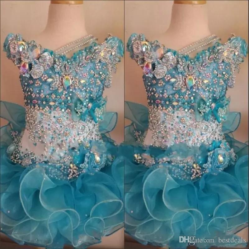 2018 Queque Pageant Vestidos para Meninas Do Bebê Frisado Organza Crianças Bonitos Curto Vestidos de Baile Infantil Oceano Azul de Cristal Festa de Aniversário Saia