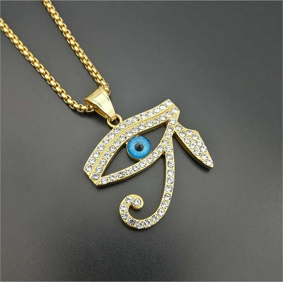 Men vintage Egypt The Eye of Horus pendant necklaces fashion Stainless Steel with Rhinestone hip hop necklace male jewelry gifts