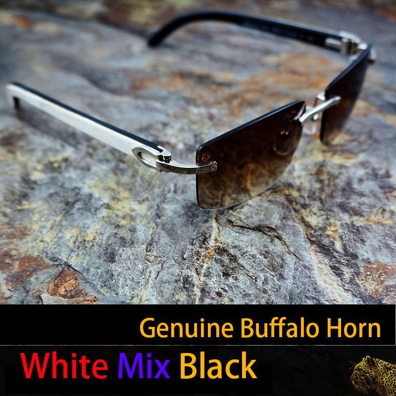 Blanco hecho a mano marco negro Cuerno gafas de color rosa gafas de sol de los hombres gafas de sol para hombre marca de los marcos 012