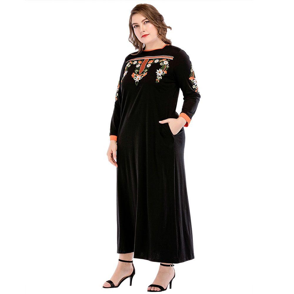 185716 robes de femmes de grande taille moyen-orient musulman ramadan euramerica style ronde broderie robes ethniques Musulman Vestidos
