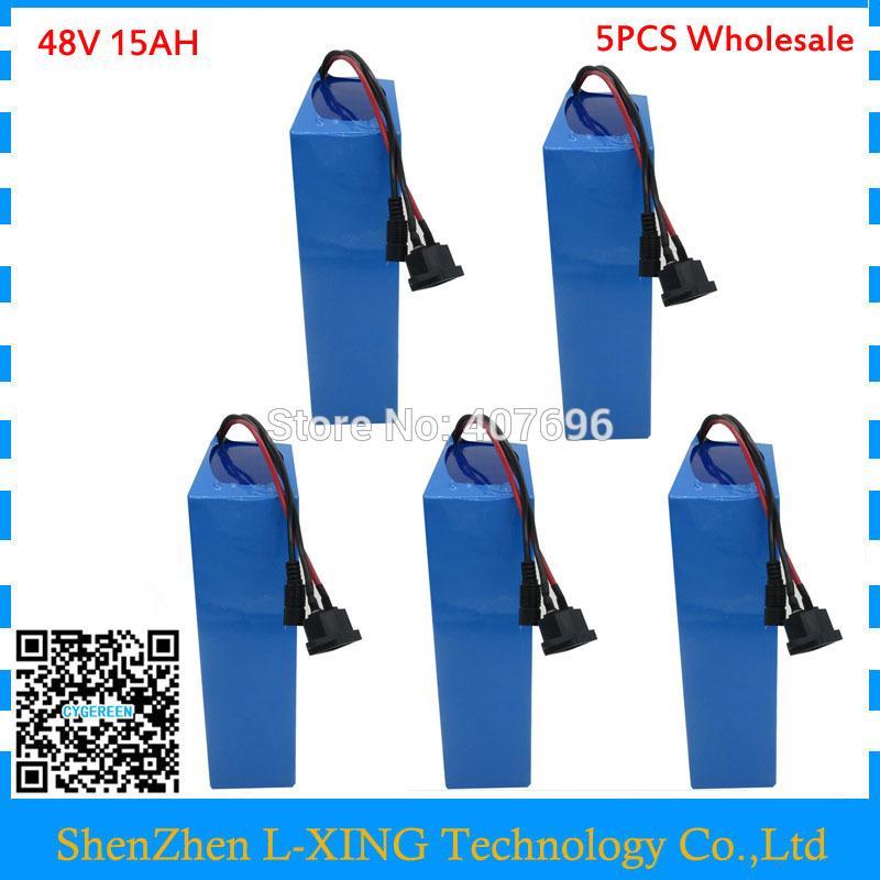 5 STÜCKE Großhandel 48 V 15AH elektrische fahrrad batterie 750 Watt 48 V 15AH ebike e roller batterie 20A BMS 2A Ladegerät Freies zollgebühr